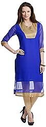 Chandigarh Fashion Mall Women's Georgette Regular Fit Kurta (Cfm.1076_XXL, Blue, XXL)