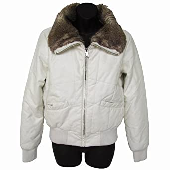 Steve Madden Women 'Puff Bomber' Jacket/Fur Jacket, Ivory, L
