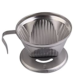 Vakind Stainless Steel Metal Cone Espresso Coffee Drip Cup Filter Maker Strainer