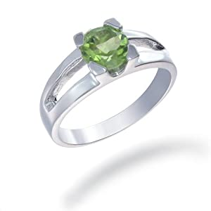 7MM 1.25 CT Peridot Ring In Sterling Silver (Available In Sizes 6 - 9) from FineDiamonds9