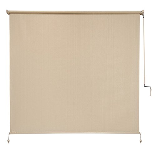 Coolaroo Exterior Cordless Roller Shade 8ft By 8ft Sesame Home Garden Decor Window Treatments