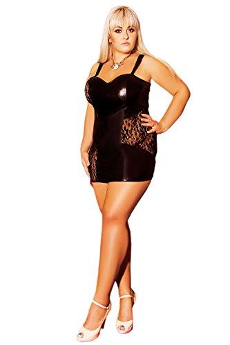 Andalea Sexy Damen Dessous Negligee Wetlook Spitze Minikleid Partykleid Clubwear Clubkleid Oksana schwarz