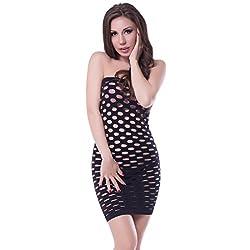 NImra Fashion Black Solid Babydoll (Free)