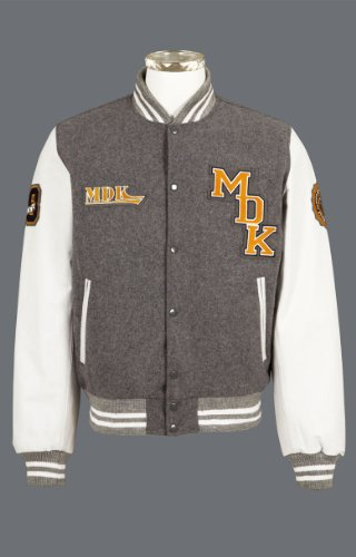 MDK Mens Leather Jacket Wolf (Leather & Wool) Grey/White 3XL