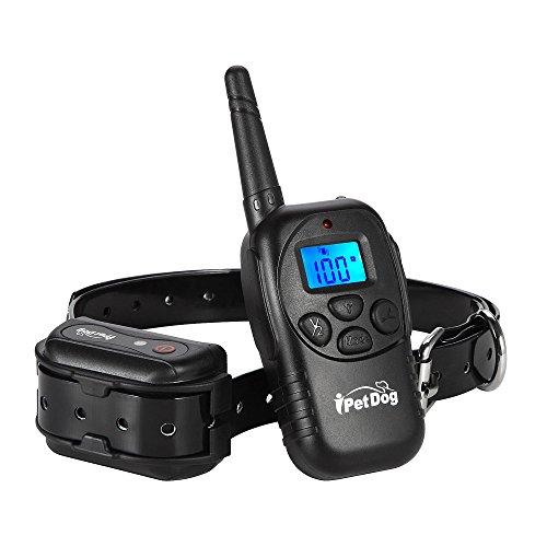 ipetdog-dog-training-remote-collar-lcd-waterproof-beep-vibra-330-yards-rechargeable-rainproof