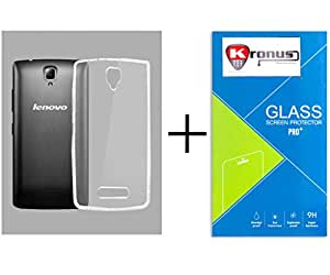 Kronus Ultra Thin 0.3mm Clear Transparent Flexible Soft TPU Slim Back Case Cover & 2.5D Curve Edged Tempered Glass Screen Protector For Lenovo A2010