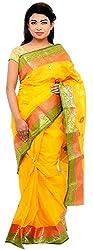 Monash Creations Phulia Tant Orange Cotton Saree For Women