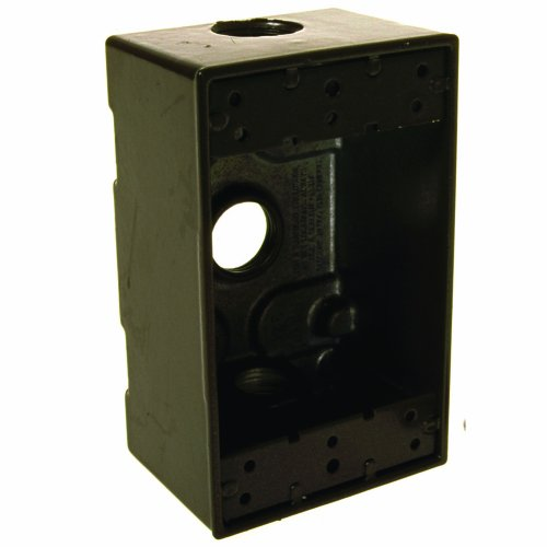 Hubbell Bell 5320-2 Single Gang 3-1/2-Inch Outlets Weatherproof Box, Bronze