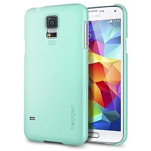 Galaxy S5 Case, Spigen® [+Screen Shield] Samsung Galaxy S5 Case Slim [Ultra Fit] [Mint] Full HD Japanese Screen Protector Included + Premium Matte Hard Case for Galaxy S5 / Galaxy SV / Galaxy S V (2014) - ECO-Friendly Packaging - Mint (SGP10845)