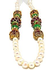 SRRK MultiColor Gold Plated Necklace With Real Pearls (Fresh Water) For Women (PRL0121)
