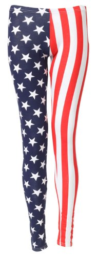 New Ladies USA American Flag Print Leggings Trousers Stars Stripes Womens Size