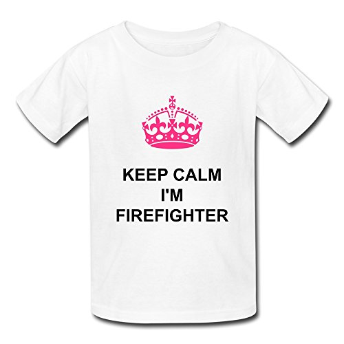 O Neck 100% Cotton Keep Calm Im Firefighter Youth T Shirts