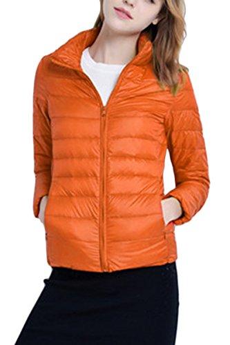 YMING Donna Cappotto Corto Piumino Impacchettabile Arancione 3XL