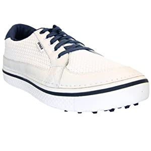 crocs Men's Drayden Golf Shoe,White/Navy,11 M US
