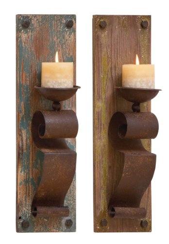 Deco 79 Wood Candle Sconce, 2 Assorted, 6 by 19""