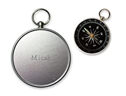 Small Compass - Engraved Name On The Back: Micah (first name/surname/nickname)