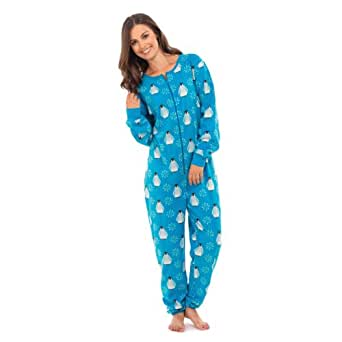 damen hausanzug onesie pinguin muster s m blau. Black Bedroom Furniture Sets. Home Design Ideas