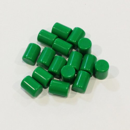 Plastic Cylinders: Set of 16 Green Color Board Game Playing Pieces (Tokens & Markers, Colored School Classroom Supplies, Arts & Crafts Projects, Teaching & Education Toy Resource Components, Extra Instructional Play Materials)