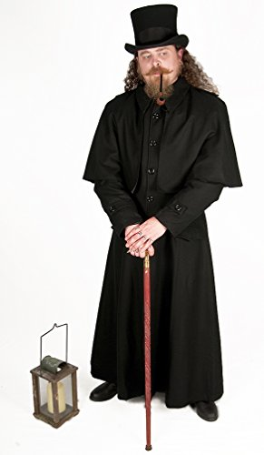 Dress Like A Pirate Black Wool Highwayman Dickens Lamplighter Coat (Large)