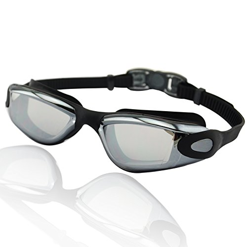 Occhialini da nuoto »Orca«, 100% protezione raggi UV + anti-appannamento. Cinturino resistente in silicone con gancio rapido + confezione rigida. QUALITÀ DELLE MIGLIORI MARCHE!  AF-1600m, nero