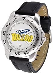 Toledo Rockets Suntime Mens Sports Watch w/ Leather Band - NCAA College Athletics