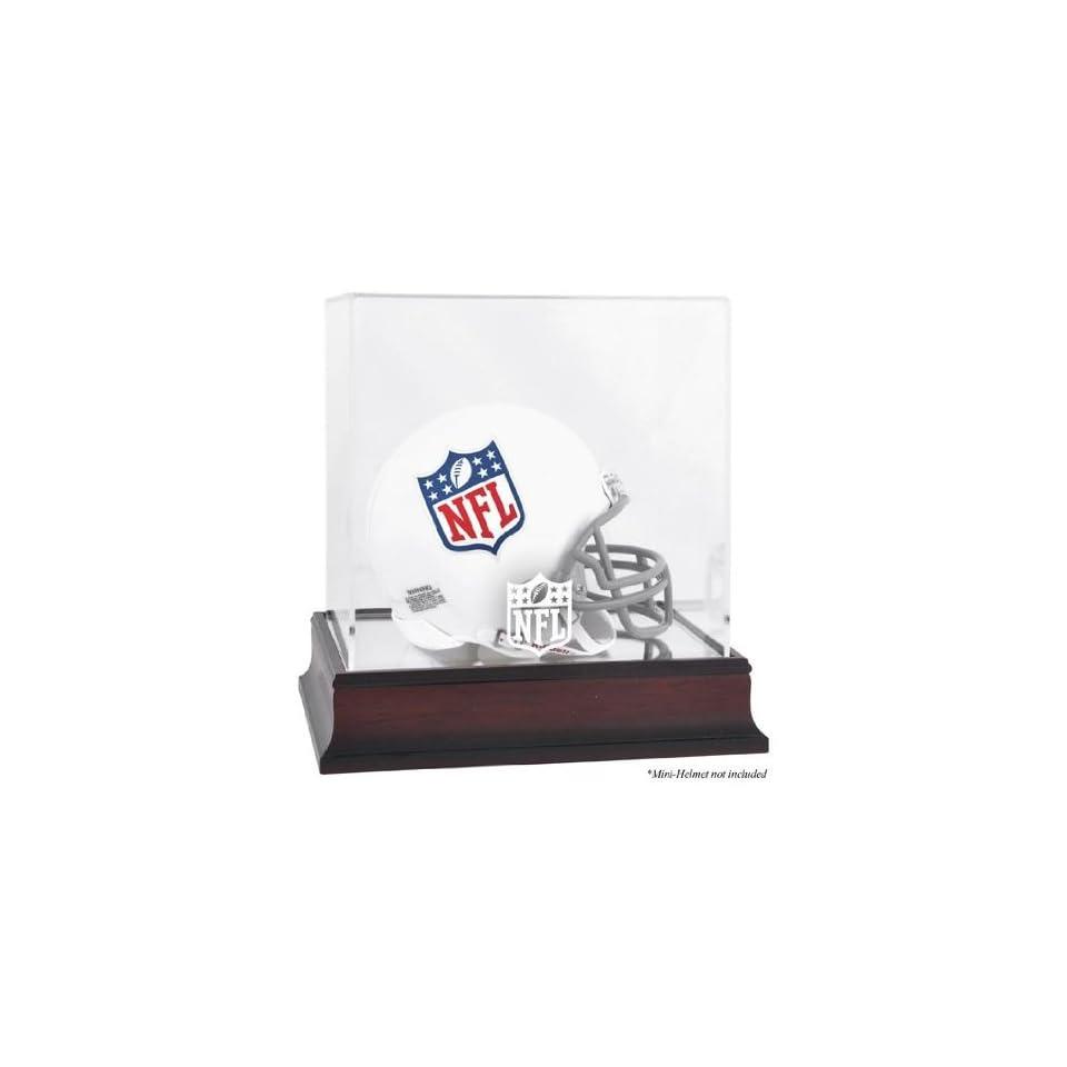 NFL Mahogany Mini Helmet Logo Display Case   Mounted Memories Certified   Football Mini Helmet Display Cases