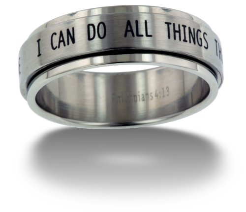 RSS7 Forgiven Jewelry-I Can Do All Things Stainless Steel Spinner Ring size 11-Christian Jewelry (All Rings compare prices)