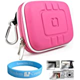 Flip Video Carrying Case for Flip Video Ultra Series Camcorder with Screen Protector Kit (Eva Magenta) and SumacLife TM Wisdom Courage Wristband