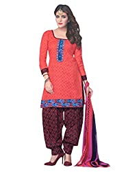 Desi By Design Women's Cotton Unstitched Dress Material (Jasmine-2007_Pink_Free Size)