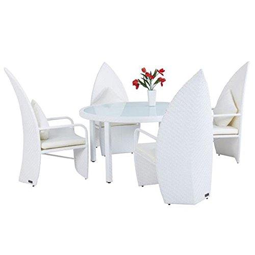 Outflexx Design Esstischgruppe Leaf-Chair Polyrattan w29, weiß günstig online kaufen