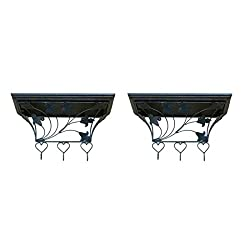 Onlineshoppee Wooden & Wrought Iron Wall Bracket, Cloth Hanger Pack of 2