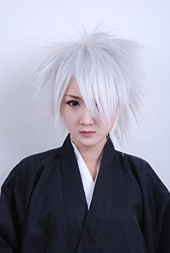 "Taobao Building Naruto Hatake Kakashi Spiky Short Dress Party Cosplay Anime Costume Hair Wig 12"" 30Cm (Silver White)"