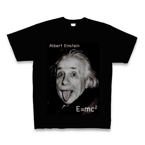 [理系]アインシュタイン写真 Tシャツ Pure Color Print(ブラック) M