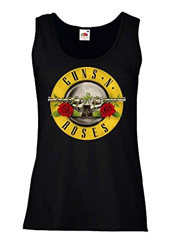"Canotta Donna ""Guns N Roses"" - 100% cotone LaMAGLIERIA, S, Nero"