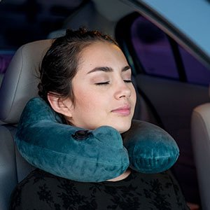 Push-Button Inflatable Daydreamer Neck Pillow with Airplane Travel Packsack and Luggage Clip - Gray