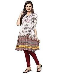 Indi Dori Women's White Red Printed Anarkali Kurti