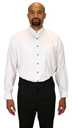 [Historical Emporium Men's Sinclair Edwardian Club Collar Dress Shirt XL White] (Sweeney Todd Halloween)