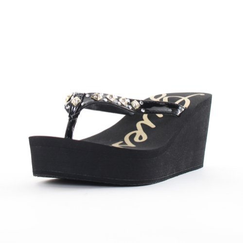 Black Wedge Thong Sandals