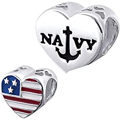 NAVY Charm Bead with Us Flag 925 Sterling Silver Fits Pandora Bracelet