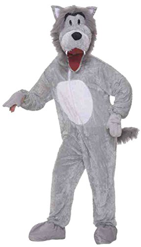 Wolf Grey Mascot Adult Costume Plush Animal Theme Party Funny Cute Halloween