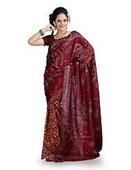 Designersareez Women Bhagalpuri Silk Printed Maroon Saree With Unstitched Blouse(854)