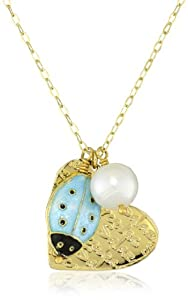 "Mercedes Salazar ""Corazones"" Heart and Lady Bug Chain Necklace"