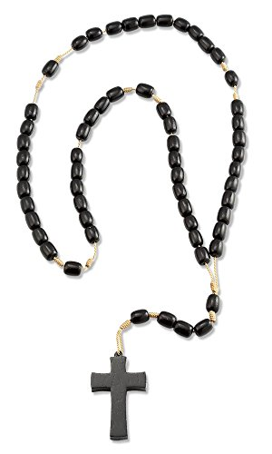 Mens Wood Pendant Necklace Black Cross Beads, 19 Inch Corded Rosary (Wood Rosary Beads compare prices)