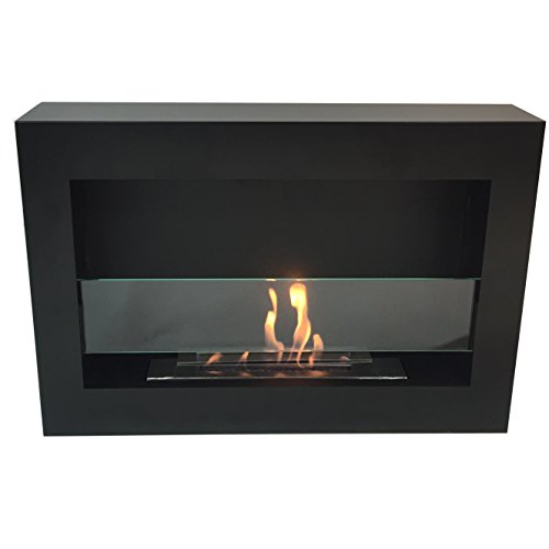 richmond luxury matte black metal wall mount ventless bio ethanol fireplace with burner insert. Black Bedroom Furniture Sets. Home Design Ideas