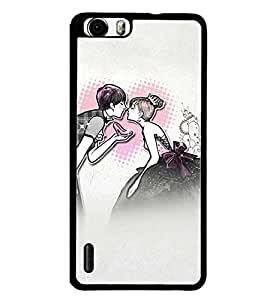 Printvisa Romantic Couple Sketch Back Case Cover for Huawei Honor 6