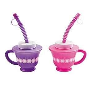 Dozen Tea Party Cups with Straw and Top (Assorted colors) by OTC