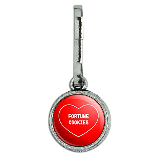 Antiqued Charm Clothes Purse Luggage Backpack Zipper Pull I Love Heart Food D-G - Fortune Cookies