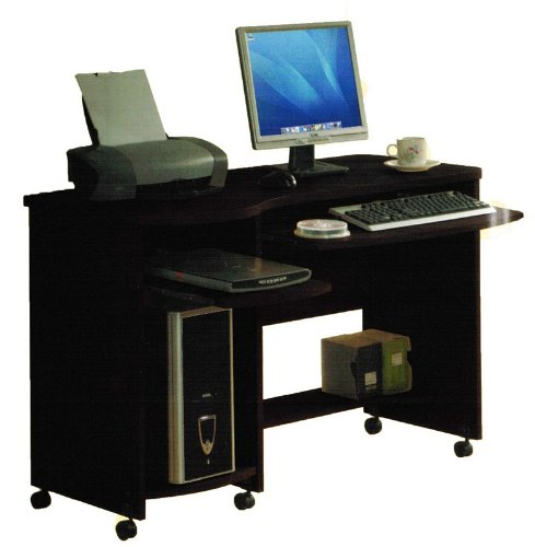 Buy Low Price Comfortable Home Office Computer Desk with Casters in Espresso Finish (B004LVTNXO)
