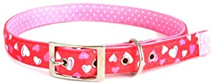 Yellow Dog Design Uptown Collar, Extra Large, Red Hearts on Pink Polka, Small Dots