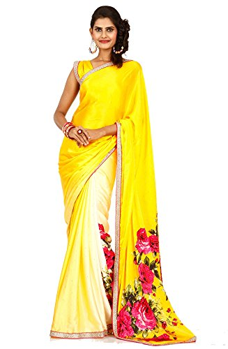 Bawree Party Wear Satin Saree [131876_Yellow Shaded]